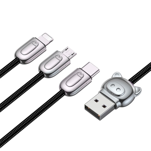 Кабель Baseus 3-in-1 USB Cable of Three Little Pigs USB For M+L+T