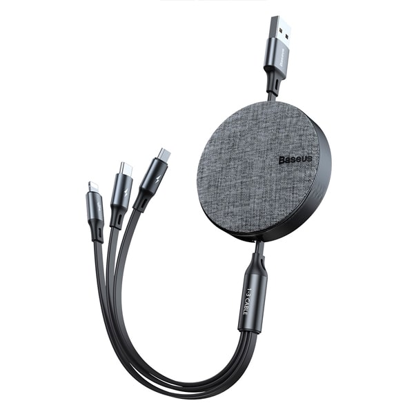 Кабель Baseus Fabric 3-in-1 Flexible Cable USB For M+L+T