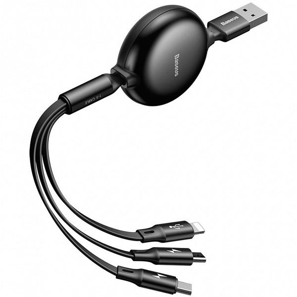 Кабель Baseus Little Octopus 3-in-1 adjustable cable USB For M+L+T 3A 1 M
