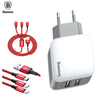 BaseusLetourDualUCharger 3 в 1cable(Apple+Micro+Type-C)