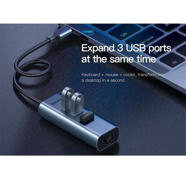 USB-концентратор Baseus Enjoyment Series USB-C to RJ45/3xUSB 3.0 CAHUB-M0G