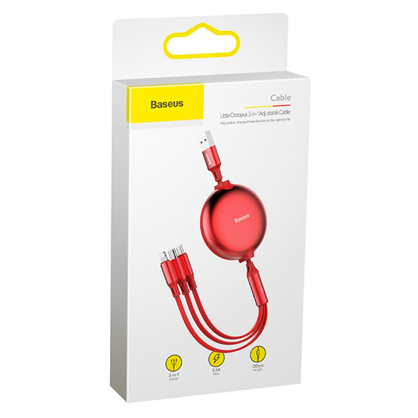 Кабель-рулетка Baseus Little Octopus 3 в 1 adjustable cable M+L+T 1.2m 3.5A