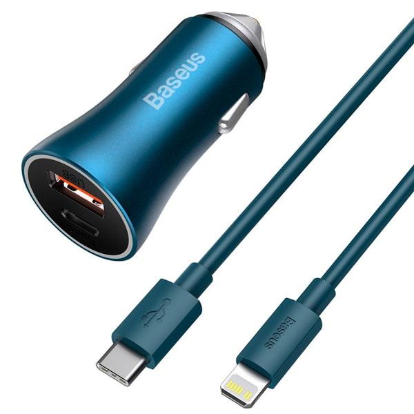 Автомобильное зарядное Baseus Golden Contactor Pro Dual Quick Charger U+C 40W