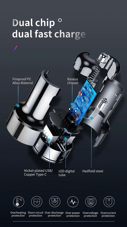 Автомобильное зарядное устройство Baseus Magic Series CCMLC20C ...